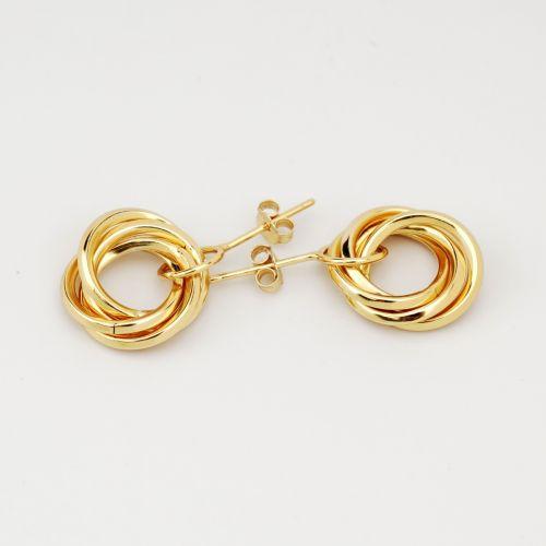 Gold Plated Triple Twisted Hoop Earrings Hestia