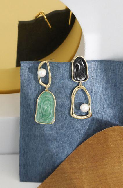 Asymmetric Resin Inside-out Pearl Golden Silver Earrings
