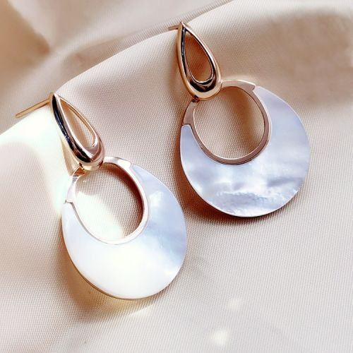 Platinum Plated Silver Crescent Moon Seashell Earrings